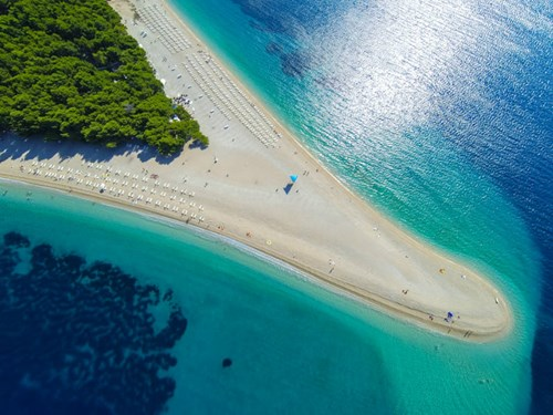 Zlatni Rat beach on Brac Island in Croatia