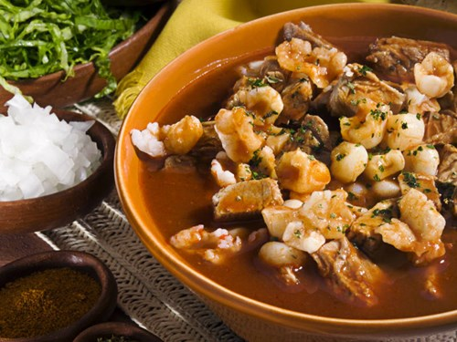 Red Pozole Dish in Mexico